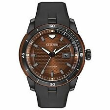 Citizen Eco-Drive Men's AW1476-18X Ecosphere Brown Dial Black Poly Strap Watch