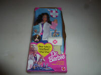 NEW DR BARBIE BRUNETTE DOLL W TWO BABIES AFRICAN 11160 VINTAGE 1993 MATTEL NIB >