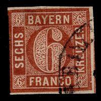 BAVARIA  used #3  6kr  IMPERF  With silk Thread  1849  FINE CV$240.00