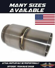 """304 Stainless American Made Extended Exit Race Muffler 2 1/2""""OD x 2"""" Body Length"""