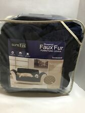 Sure Fit Loveseat Slipcover Sofa Navy Blue Sheared Faux Fur New