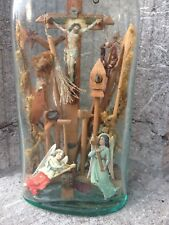 Unique Antique Folk Art Christian in Bottle Tools of Passion Carved Crucifixen