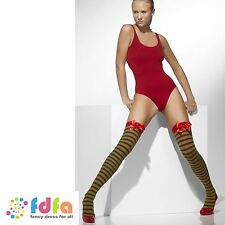 RED GREEN STRIPE OPAQUE HOLD UPS STOCKINGS + BOWS UK 10-14 womens ladies hosiery