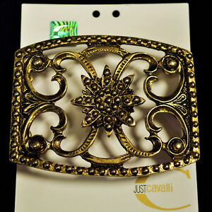 Vintage Just Cavalli authentic Buckle. Old gold color metal. Made in Italy