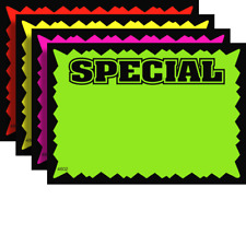 100 SPECIAL 2.5 x 3.5 Fluorescent Burst Neon Retail Sale Sign Card 25 Each Color