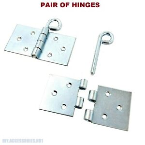 Pair of Silver Backflap Removable Pin Heavy Duty Strap Hinges Galvanized Steel