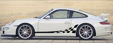 Porsche 911 wave style flag. Side Decal Set. Non OE. (996, 997, 991, 993, etc)