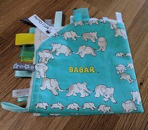 Taggie Blanket Babar the Elephant  aqua, yellow, cream dimple minky backing