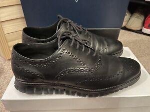 Cole Haan ZeroGrand Wingtip C20719 Mens Sz 9.5 Oxford Black Leather Shoes, MINT!