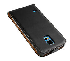 For Samsung Galaxy S5, Black Genuine Real Leather Flip Phone Case Cover