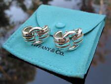 Tiffany & Co RARE Silver Wide Atlas Buckle Groove Hoop Earrings!