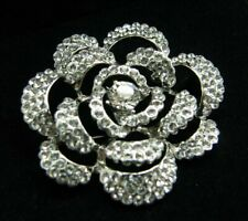 Made With Swarovski Elements Brooch Pin Open Work Flower Rose Silver Tone New!