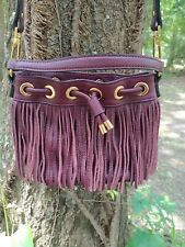Milly burgundy Essex Fringe Bag with drawstring closure and detachable strap