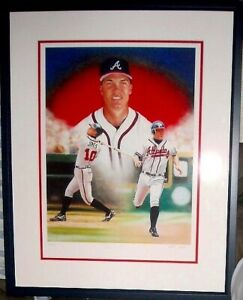 Chipper Jones autographed signed Atlanta Braves giclee art matted framed #11/110