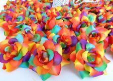 500 Rainbow Silk Flower Rose Head Artificial Wholesale Lots Craft Embellishment