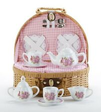 Delton Children's Porcelain Tea Set for 2 in Wicker Basket LAURA ROSE