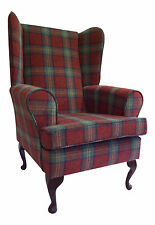 FIRESIDE/WING BACK/QUEEN ANNE CHAIR TURQUOISE / RED LANA TARTAN CHECK