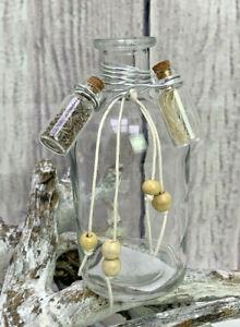 Deko Glasflasche mit kleinen Fläschchen H13cm Tischdeko Geschenk Flasche