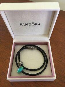Pandora Authentic Double Black Leather Braided Bracelet & 2 Pandora Charms 39cm