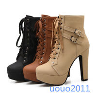New Womens Block High heel Platform Lace Up Buckle Ankle Boots Shoes US Size4-13