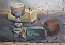 OIL PAINTING STILL LIFE WITH GOBLET VASE FRIUT SIGNED