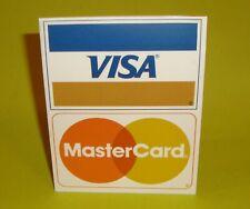 Vintage 1988 Plastic Store Counter Display Visa Master Credit Card Sign GB Frank