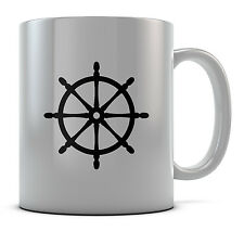Hipster Sailing Boat Steering Wheel Trendy Mug Cup Present Gift Coffee Birthday