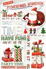 On Your 1st Christmas Grandson Cute Luxury Medium Sized Greetings Card