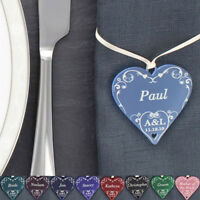 Wedding Place Names Cards Table Setting 10 Swirl Hearts Personalised Guest Name