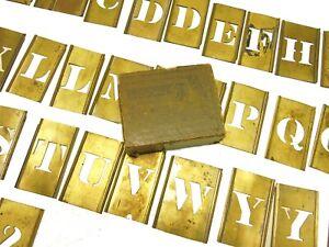 Antique/Vintage Set of Reese's Brass Interlocking Stencils Letters Original Box