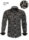 Men's fashion Long Sleeve Button-Down Dress Shirt Floral Black/White CD-4408
