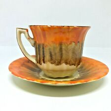 MYOTT SON & CO Hand painted Orange and Brown Cup and Saucer / Art Deco