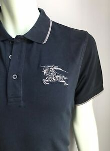 Burberry Polo Shirt, Black with Insignia, Slim Fit, 2XL, Exc Condition