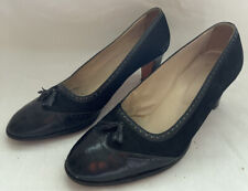 Vtg I.Magnin 1950's Black Leather Suede Brogue Wingtip pumps shoes 10 Women