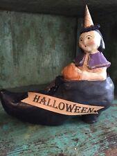 "Nicol Sayre Halloween ""Witch's Shoe Ride"" Pumpkin Rare Retired 2004 Seasons"