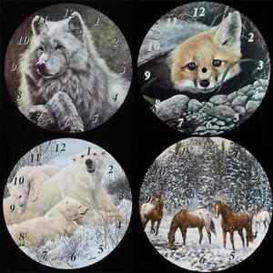 New 9.5'' Wildlife Clock Dials / Faces - Fox Bear Wolf Horses  - Clock Making