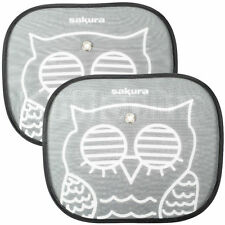 x2 Car Window Sun Shield/Shade/Blind OWL, TWIN PACK. UV Protection for Children