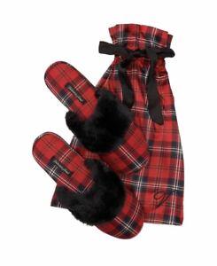 "VICTORIAS SECRET Signature Satin Slippers Red Plaid W Bag, Gift Size ""L"" 9/10"