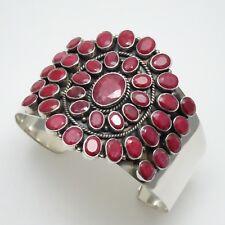 "Stunning 51.0CTW Oval Ruby -  Flower - Sterling Silver - Cuff Bracelet - 8"""