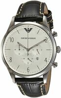 Emporio Armani Men's Classic AR1861 Grey Leather Quartz Watch