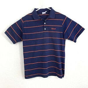 Mens Vintage University of Illinois The Big R RC Sportswear Blue Polo Small S