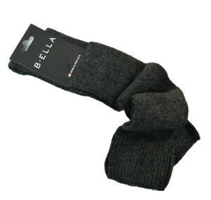 B. Ella Ladies Wool Cashmere Angora Blend Knee Socks Bette Charcoal - NEW