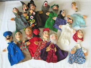 Sammlung 13 + 2 Kasperle Puppen Figuren Finger- Handpuppen mit Stoffköpfen