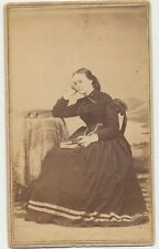 1860s Civil War Tax Stamp CDV Photo Pretty Lady Holding Photo Album? Ogdensburgh