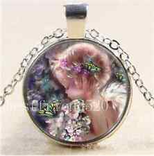 Tibet Silver Chain Pendant Necklace Angel and Butterflies Cabochon Glass