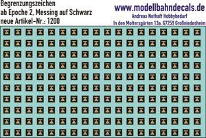 TT-Begrenzungszeichen (Pfeil mit Querstrich) messing auf schwarz, Kreye 120-1200