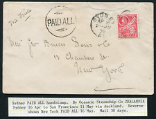 NEW SOUTH WALES: (17338) printers/1890 to New York PAID ALL cancel/cover