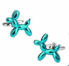 Quality 3D Balloon Dog Cufflinks Silver Colour Cuff links Puppy tie clip Cartoon