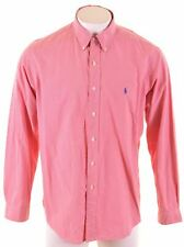RALPH LAUREN Mens Shirt Size 18 2XL Red Check Cotton Custom Fit  HN28