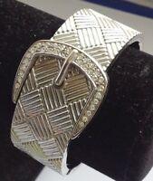 bracelet rétro rigide motif  ceinture couleur argent rhodié cristaux diamant A10